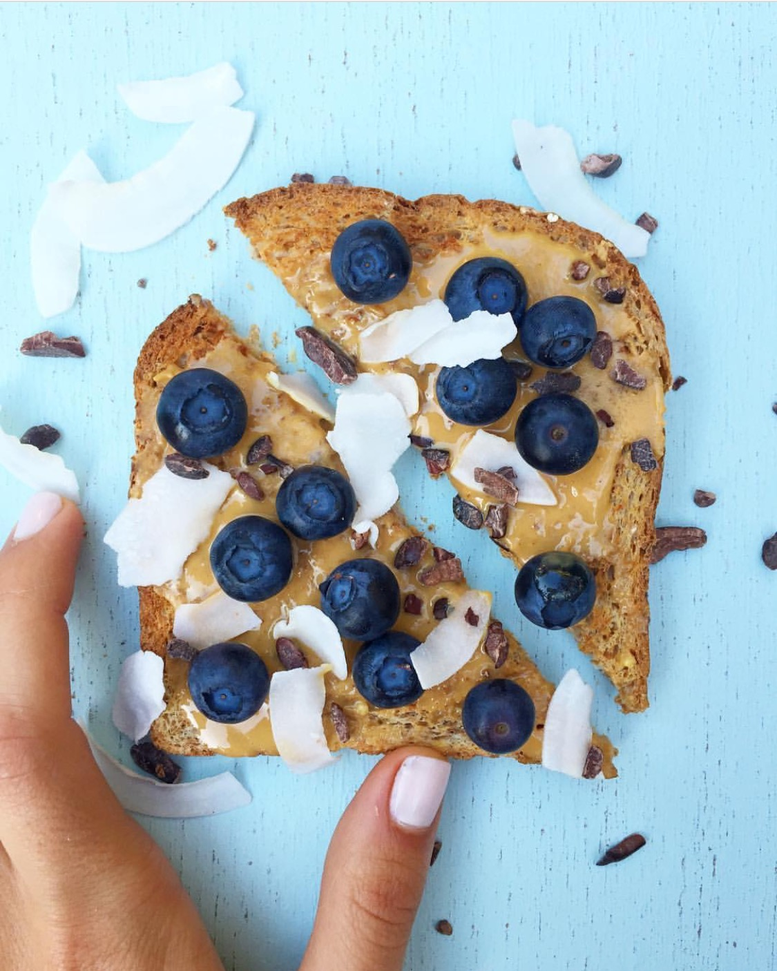 Sprouted Wheat Blueberry Peanut Butter Toast