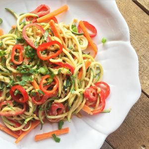 Raw Zoodle Salad Creamy Peanut Butter Dressing