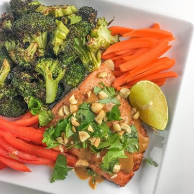 Broiled Salmon with Homemade Thai Peanut Sauce