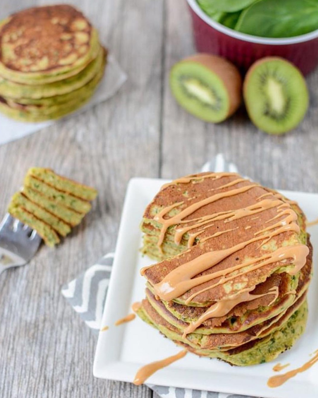 Green Spinach Kiwi Smoothie Pancakes with Crazy Richard's Natural Peanut Butter