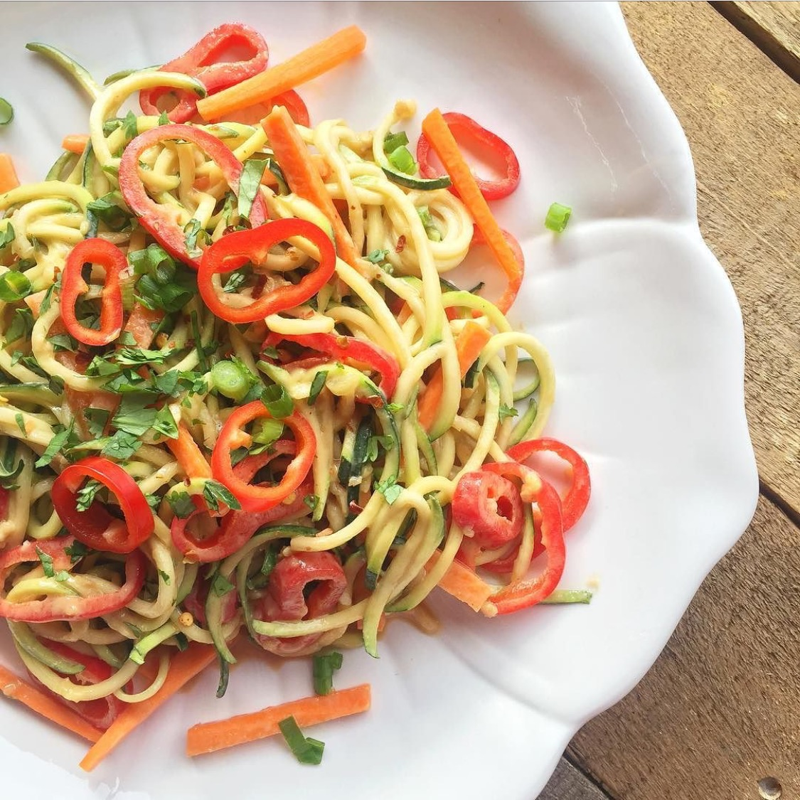 Raw Zoodle Salad with Creamy Peanut Butter Dressing