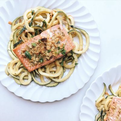 Coconut Ginger Salmon with Thai Peanut Zoodles
